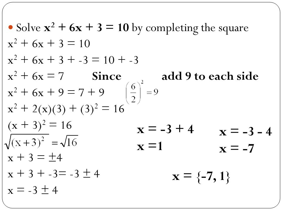 Solve x2 + 6x + 3 = 10 by completing the square