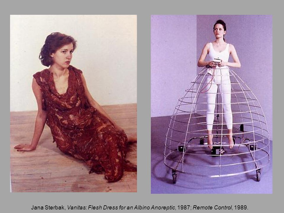 Jana Sterbak, Vanitas: Flesh Dress for an Albino Anoreptic, 1987; Remote Control, 1989.