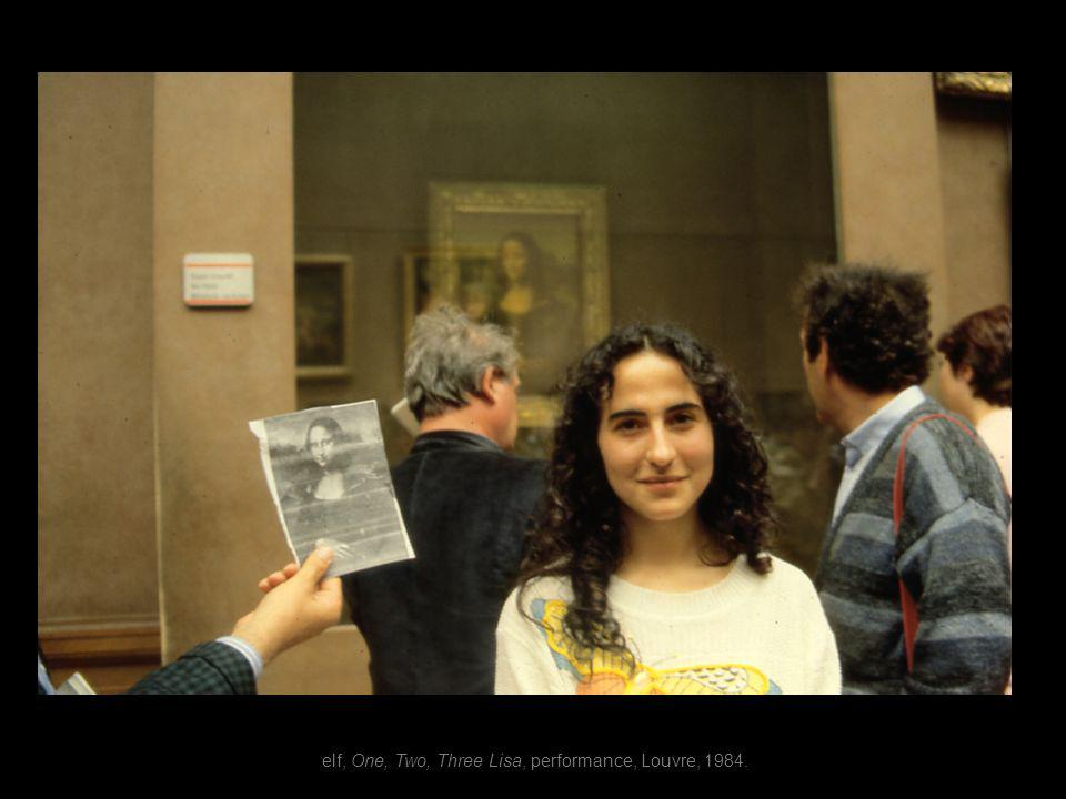 elf, One, Two, Three Lisa, performance, Louvre, 1984.