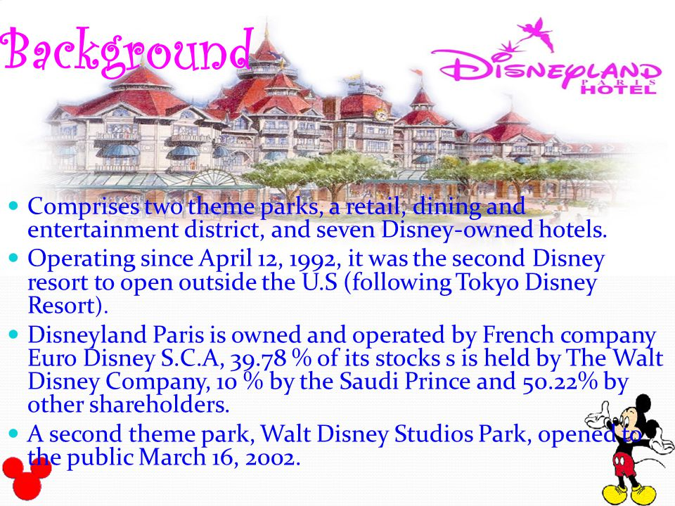 swot analysis eurodisney paris A recent article in time disclosed that the walt disney company is interested in buying out the other share holders of the disneyland paris park although the park is still 500,000 million euros in debt it is on its way to recovery and profit.