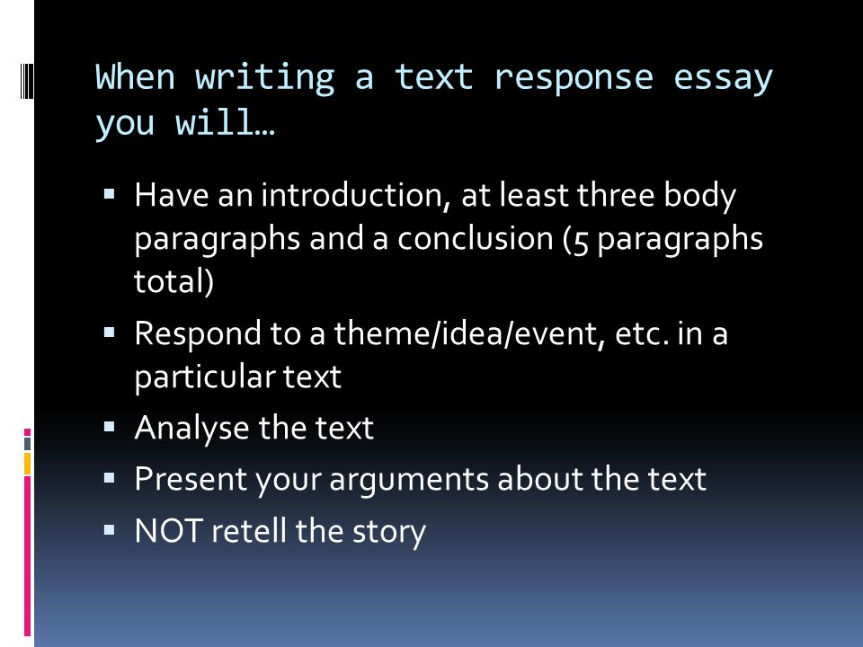 text response essay introduction Essay questions response papers writing for publication writing for administrative purposes text types letters response papers a response paper is a short essay which conveys the writer's reaction to one or several texts that he or she has in the introduction, the book(s)/article.