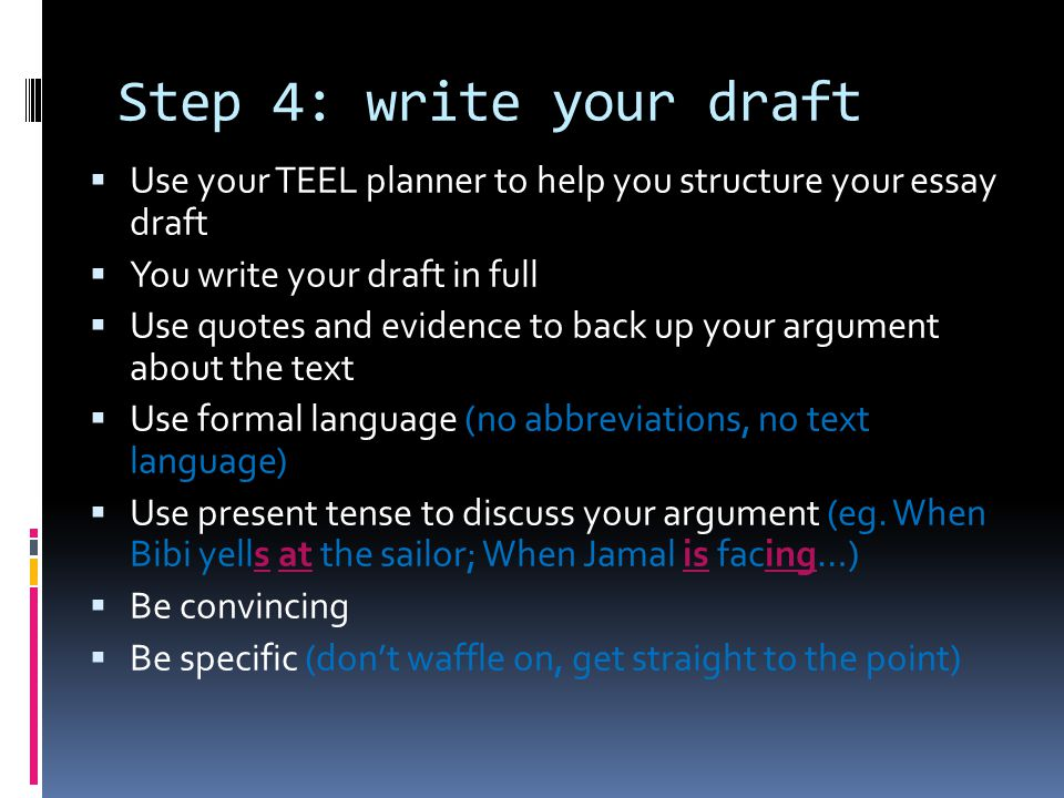 introduction to extended text response structure planning ppt  step 4 write your draft use your teel planner to help you structure your essay