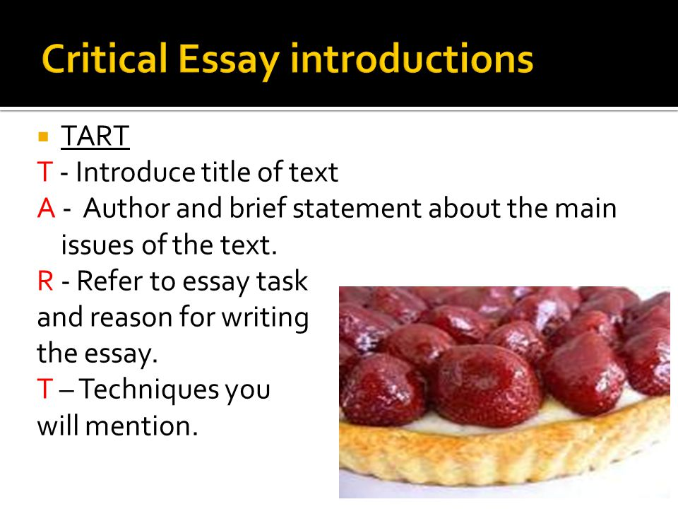 good critical essay introductions In an essay, you don't need to use the headings introduction and conclusion –  you do in a report note that  this is a good example which focuses on issues.