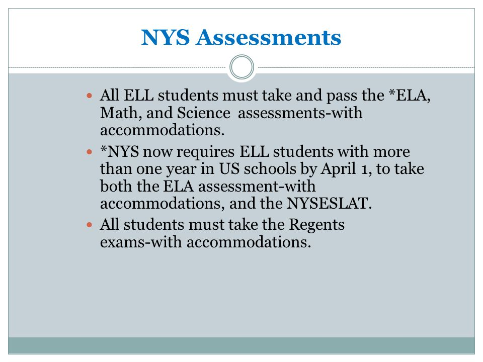 Ell assessment plan