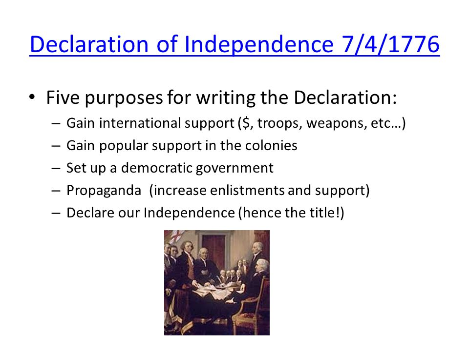purpose of the declaration of independence essay