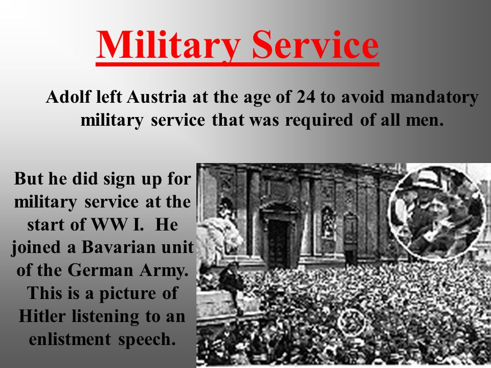adolf hitlers rise to power and the start of world war i Adolf hitler remained in the german army after world war one ended in november 1918 seething with anger at germany's defeat, hitler was employed as a v-man hitler's job was to visit as many political organisations as possible to check out whether they were right wing, centre politics or left wing.
