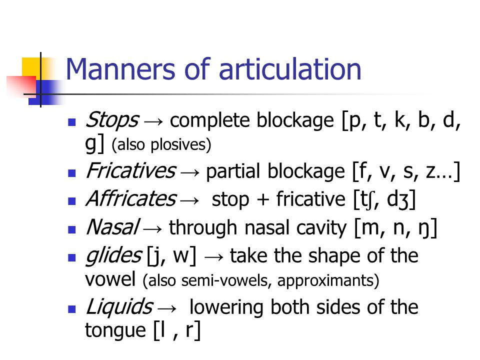 Manners of articulation