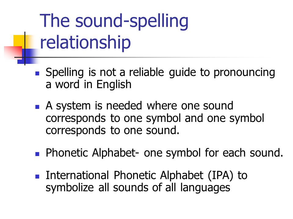 The sound-spelling relationship