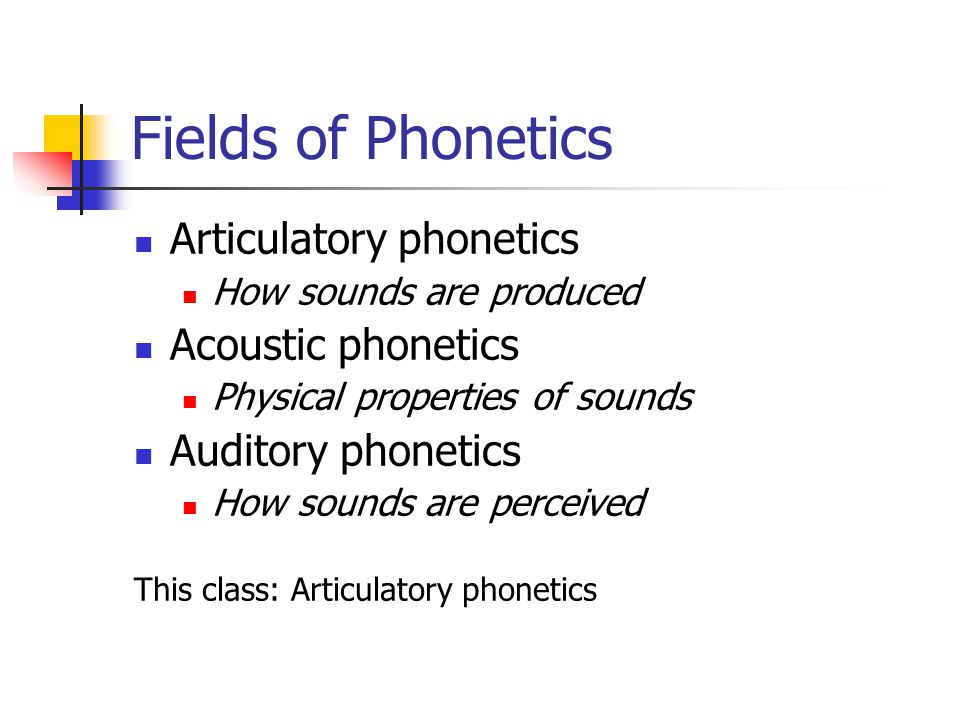 Fields of Phonetics Articulatory phonetics Acoustic phonetics