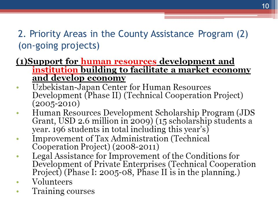 2. Priority Areas in the County Assistance Program (2) (on-going projects)