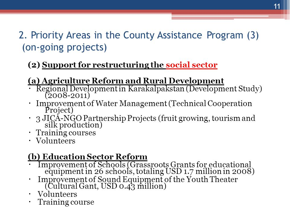 2. Priority Areas in the County Assistance Program (3) (on-going projects)