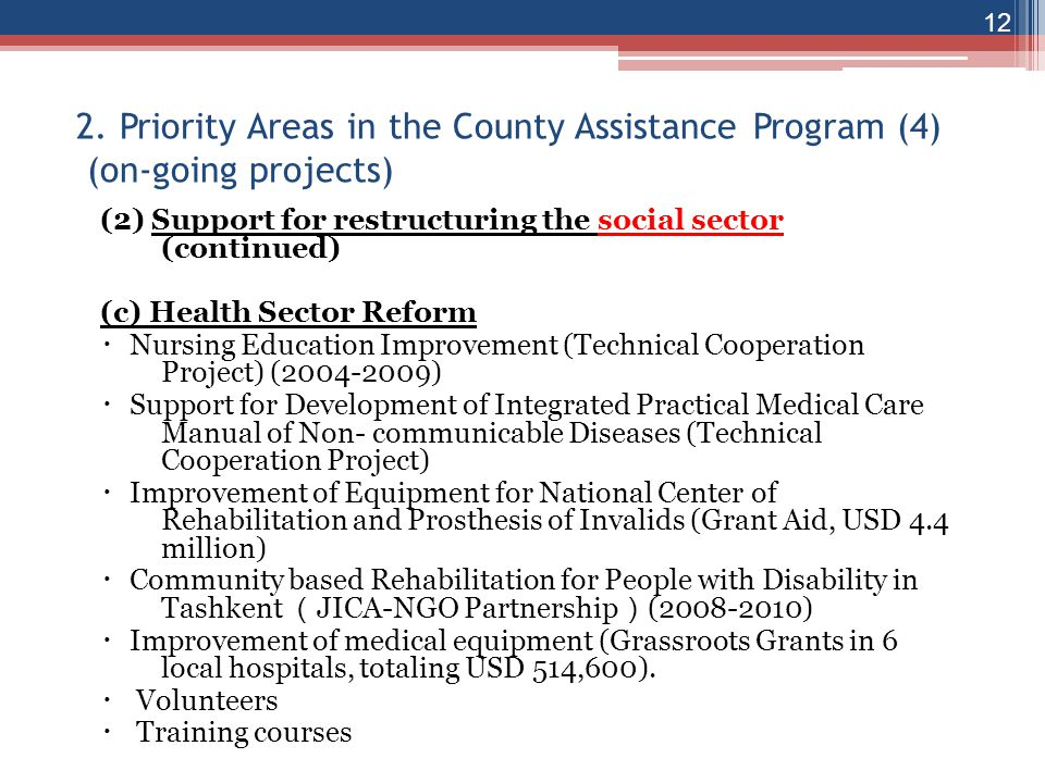 2. Priority Areas in the County Assistance Program (4) (on-going projects)