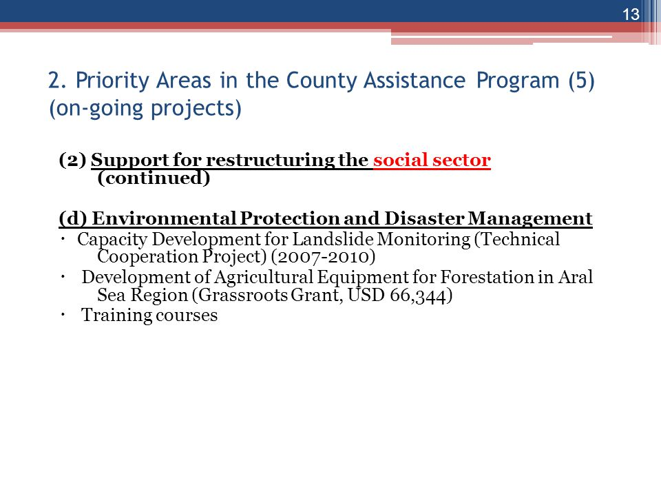 2. Priority Areas in the County Assistance Program (5) (on-going projects)