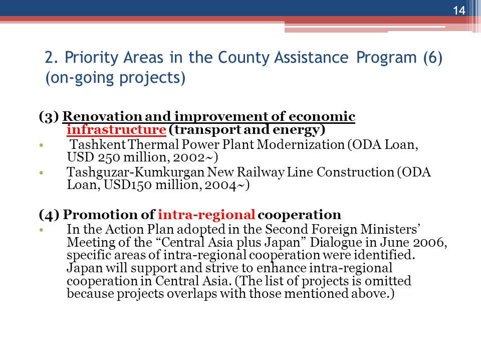 2. Priority Areas in the County Assistance Program (6) (on-going projects)