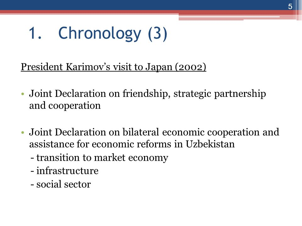 1. Chronology (3) President Karimov's visit to Japan (2002)