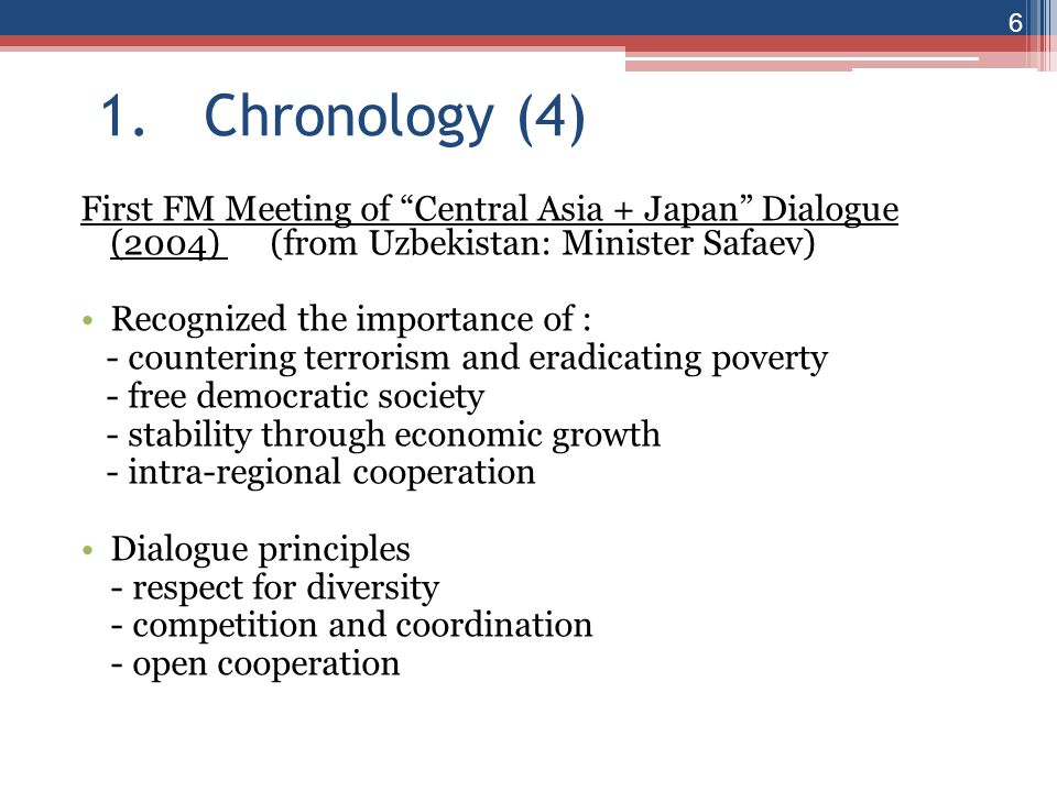 1. Chronology (4) First FM Meeting of Central Asia + Japan Dialogue (2004) (from Uzbekistan: Minister Safaev)