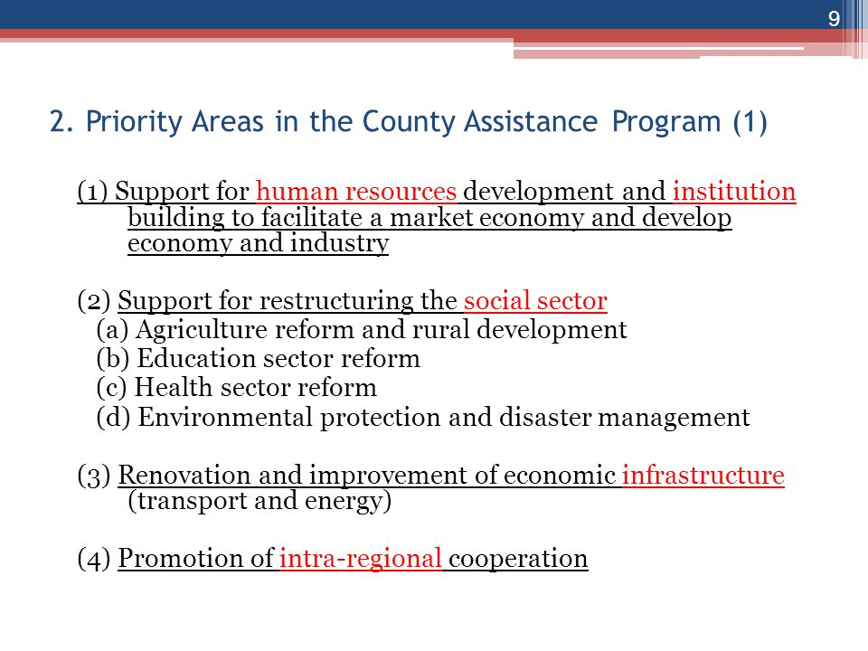 2. Priority Areas in the County Assistance Program (1)
