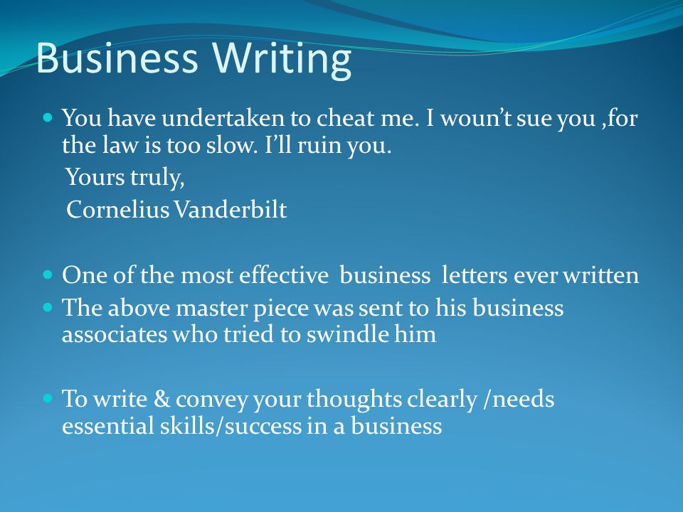 Nature Of Business Writing Definition