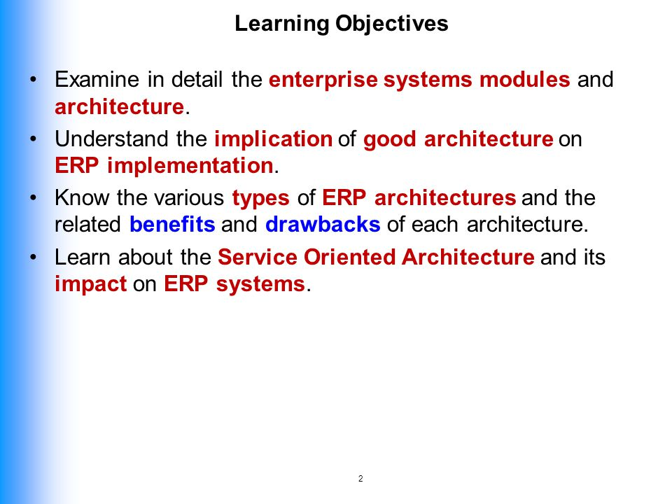 Learning Objectives Examine In Detail The Enterprise Systems Modules And  Architecture.