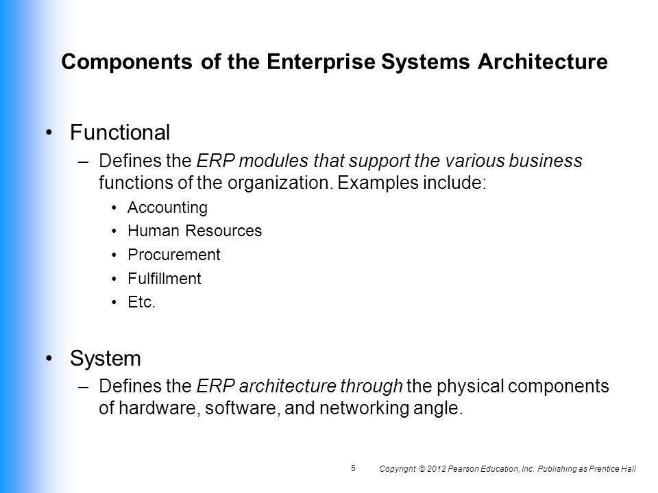 Components Of The Enterprise Systems Architecture