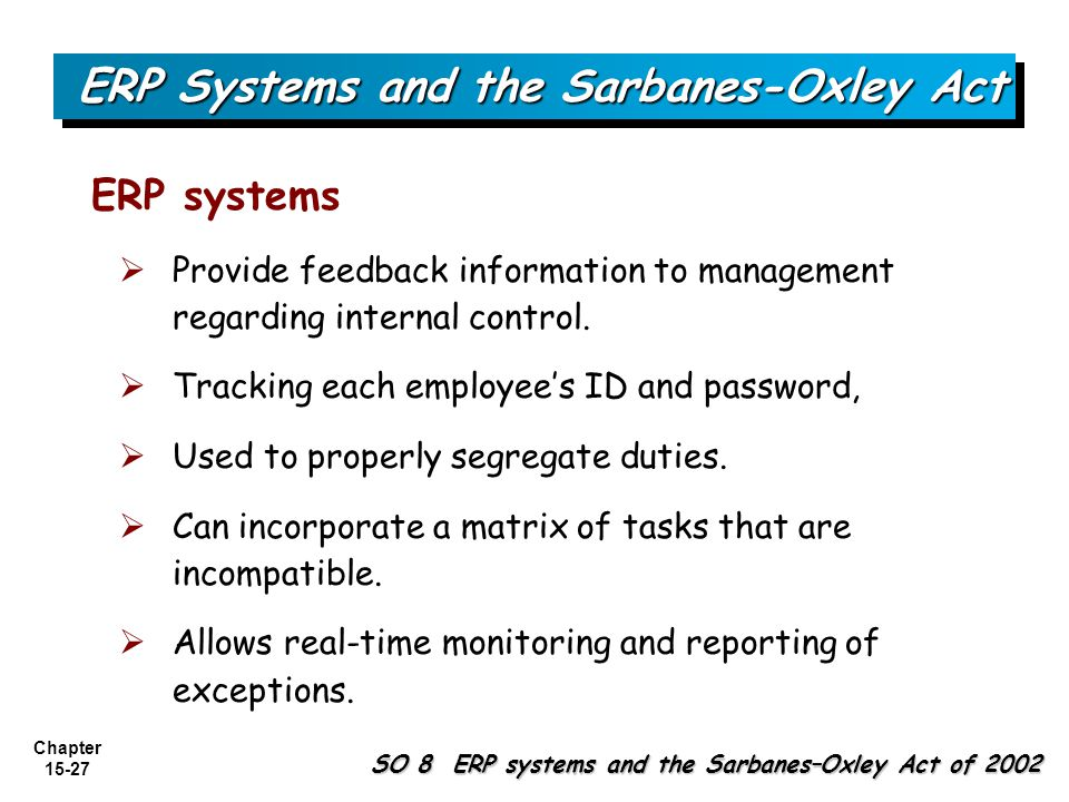 ERP Systems and the Sarbanes-Oxley Act