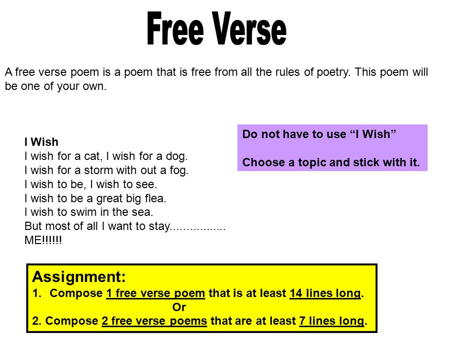 how to write a free verse poem about yourself