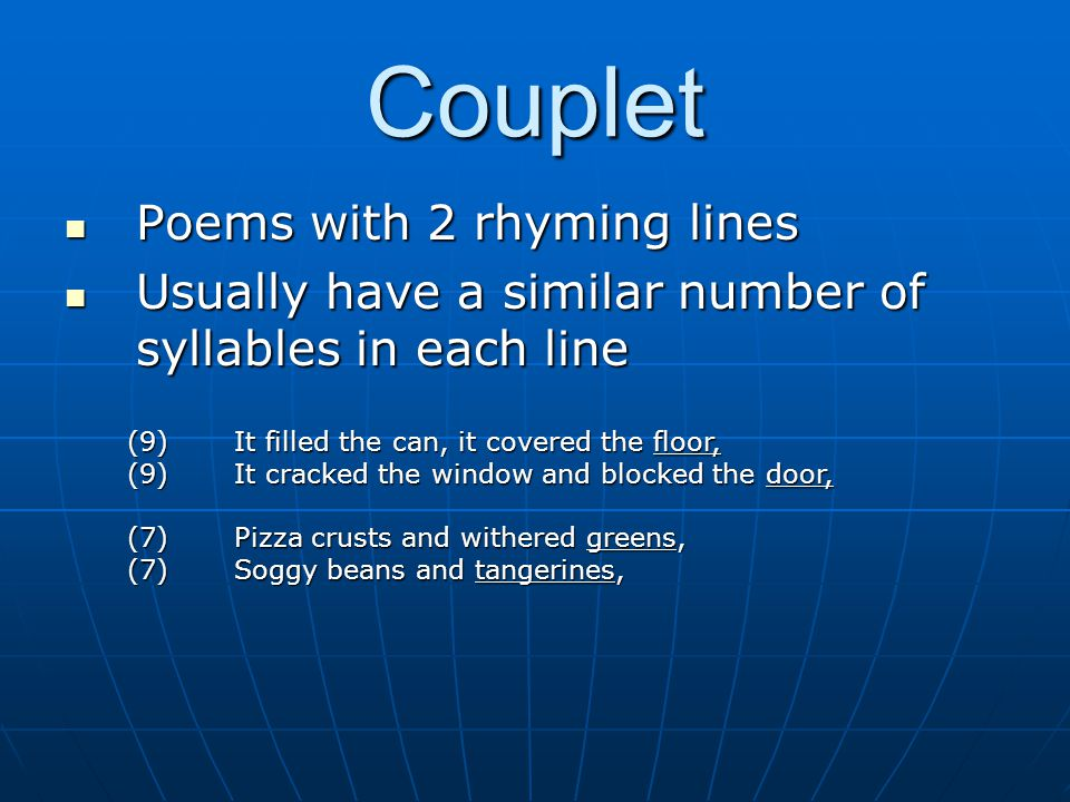 Couplet Poems with 2 rhyming lines