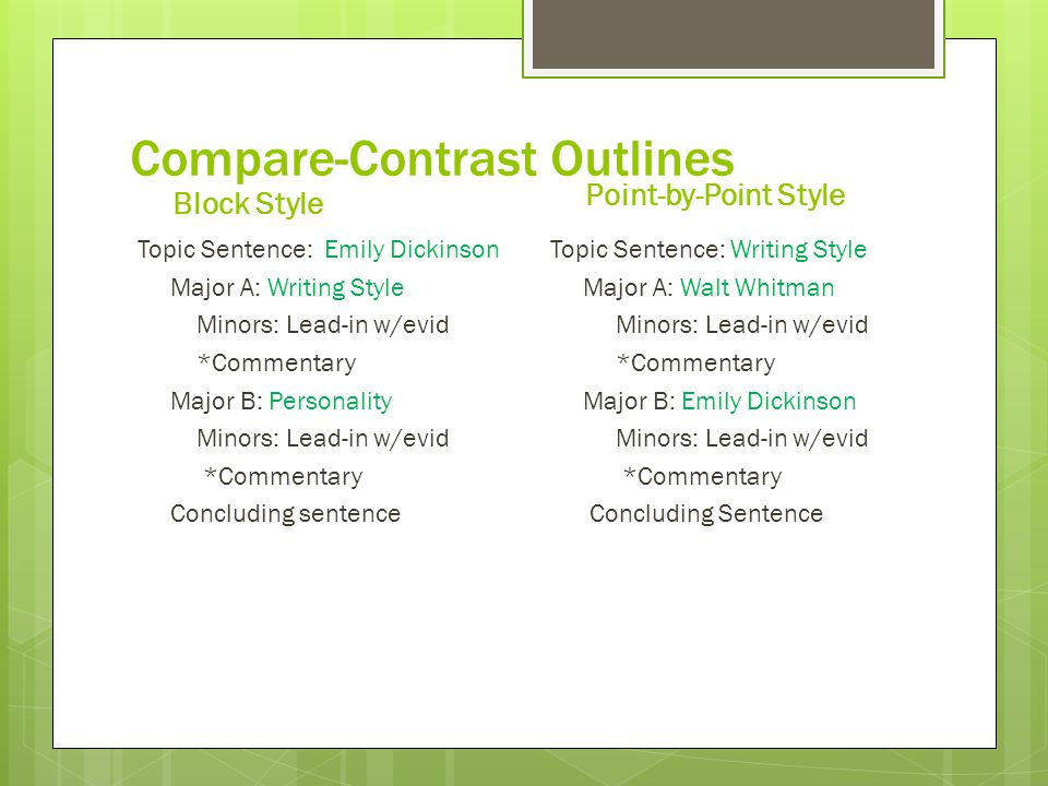 compare contrast expository essay ppt video online  10 compare contrast outlines point by point style