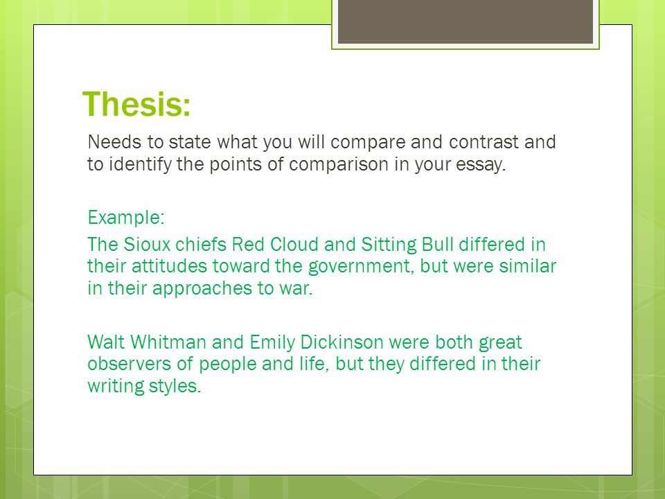 thesis - Comparison Essay Thesis Example