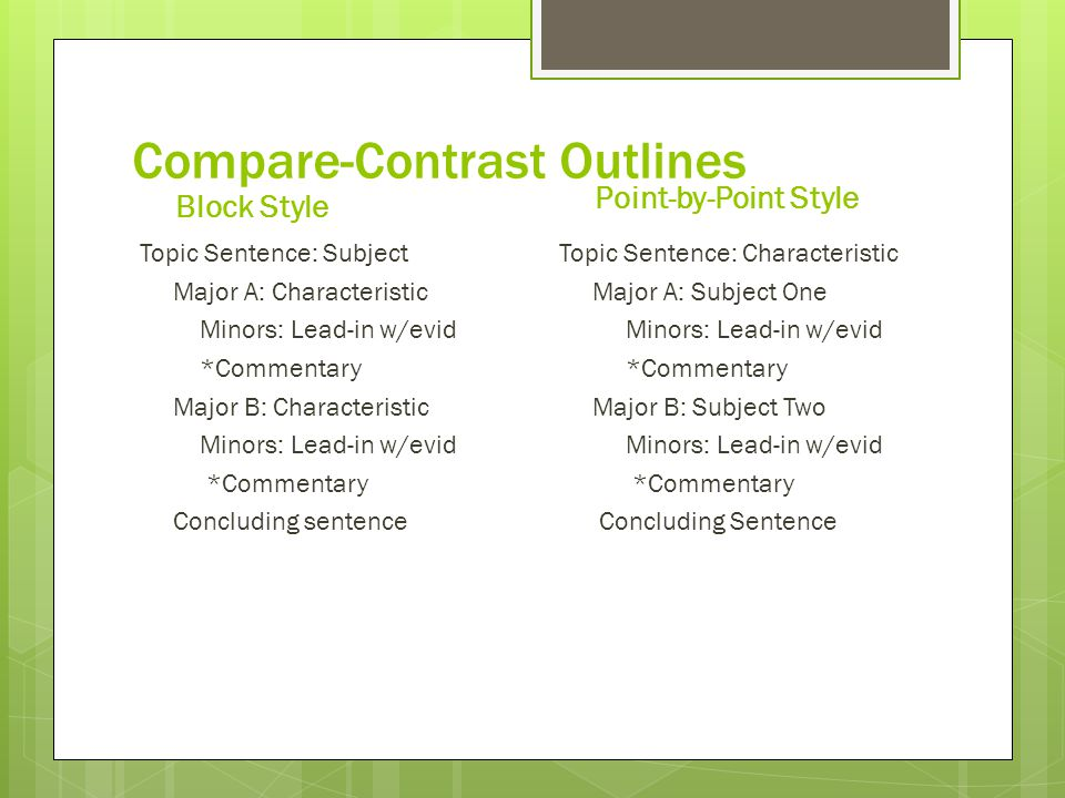 outline for compare and contrast essay Before you begin writing the compare and contrast essay, you need to be familiar with an outline to follow not only does the outline keep you on the right track, but it generates ideas that you can use for the essay.