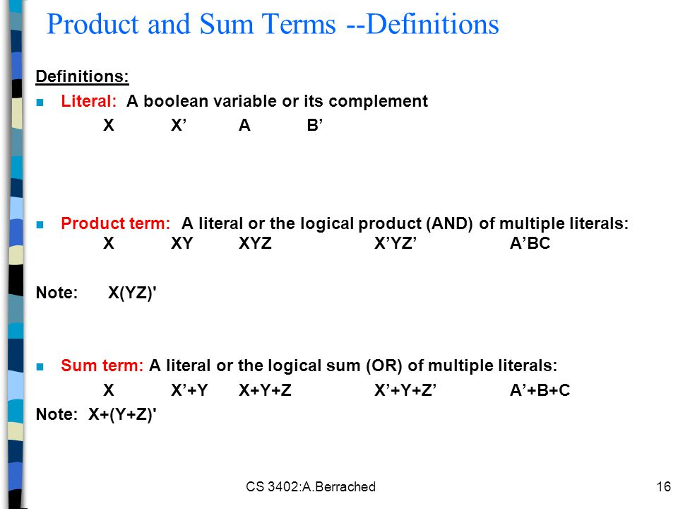 Product and Sum Terms --Definitions