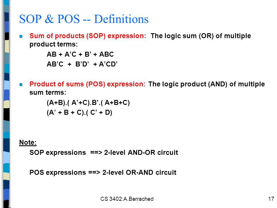 SOP & POS -- Definitions