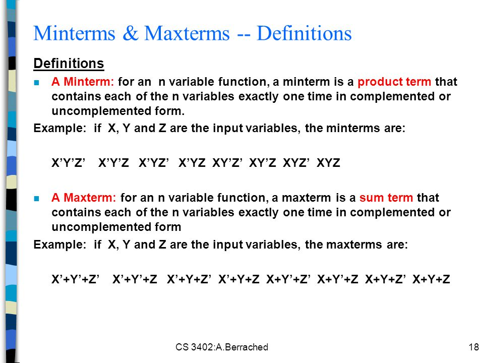 Minterms & Maxterms -- Definitions