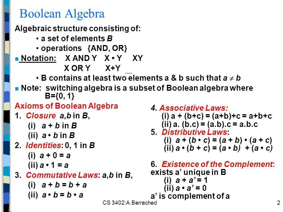 Boolean Algebra Algebraic structure consisting of: a set of elements B