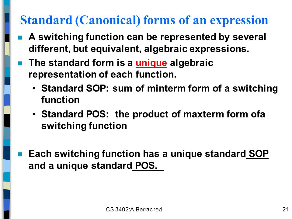 Standard (Canonical) forms of an expression