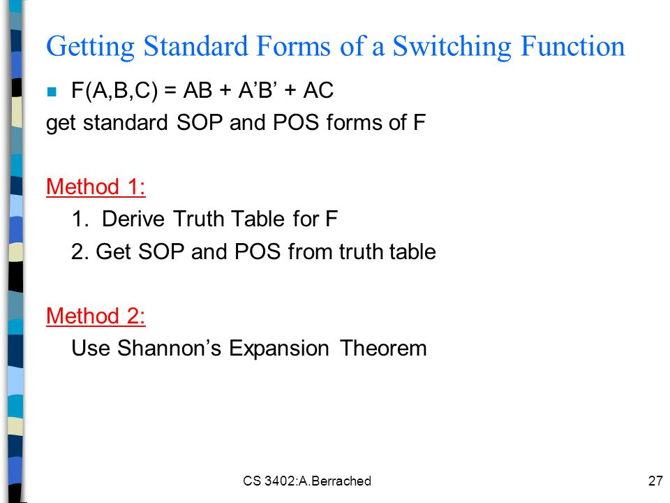 Getting Standard Forms of a Switching Function