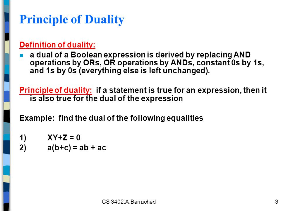 Principle of Duality Definition of duality: