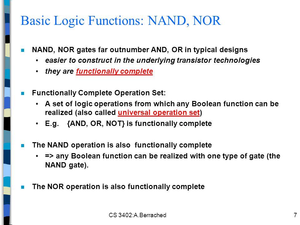 Basic Logic Functions: NAND, NOR