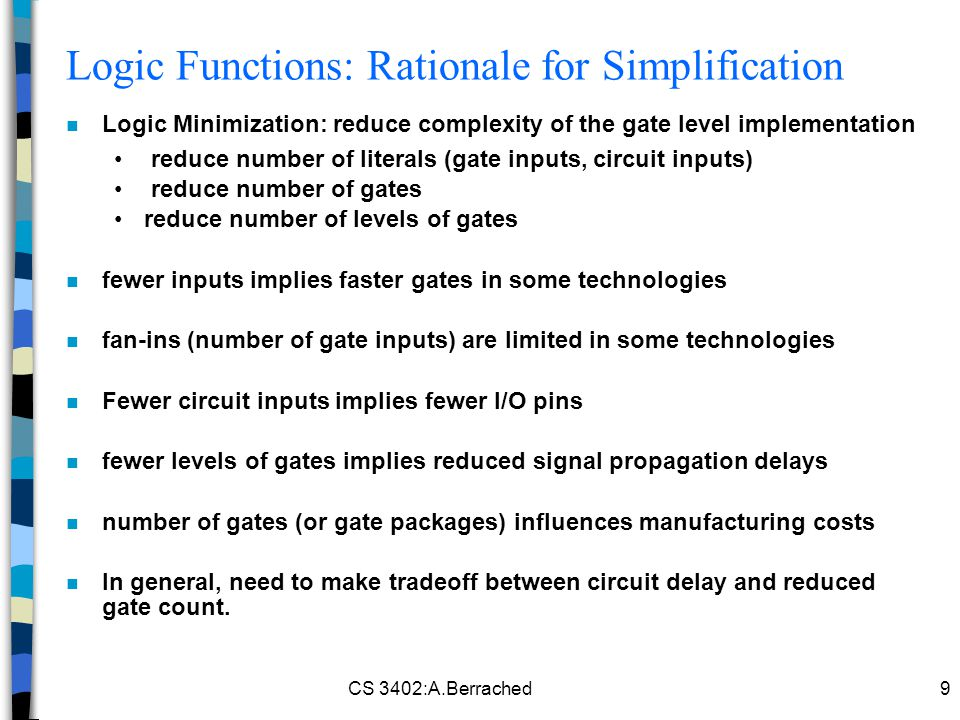 Logic Functions: Rationale for Simplification