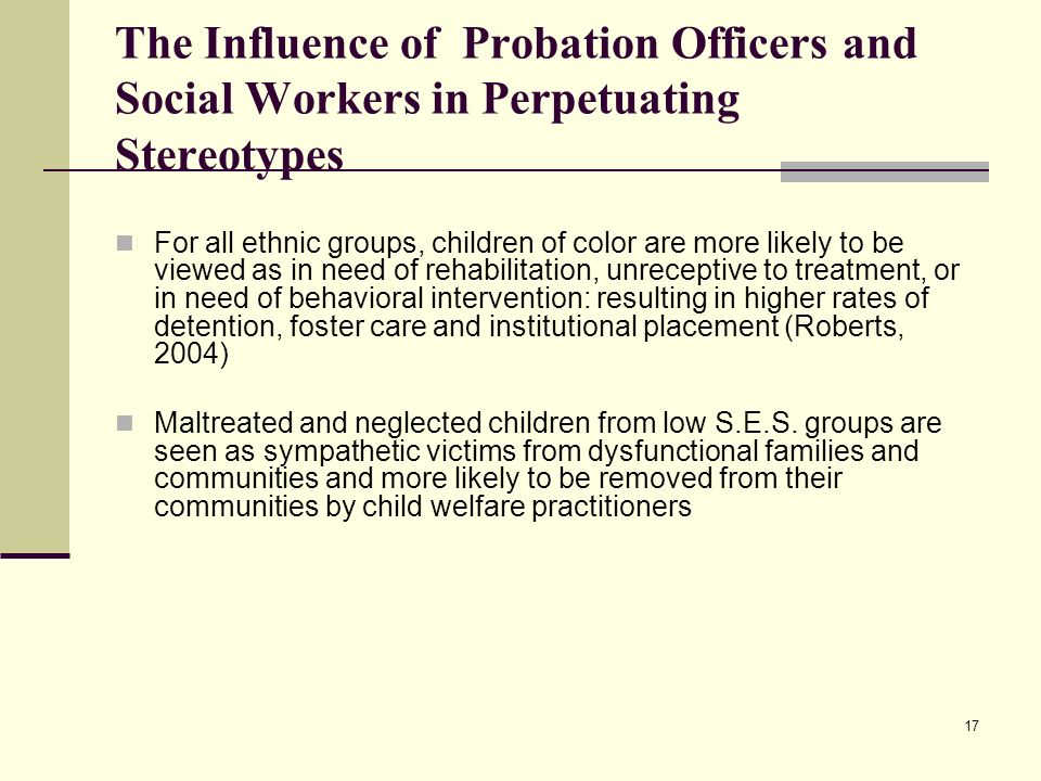 The Influence of Probation Officers and Social Workers in Perpetuating Stereotypes