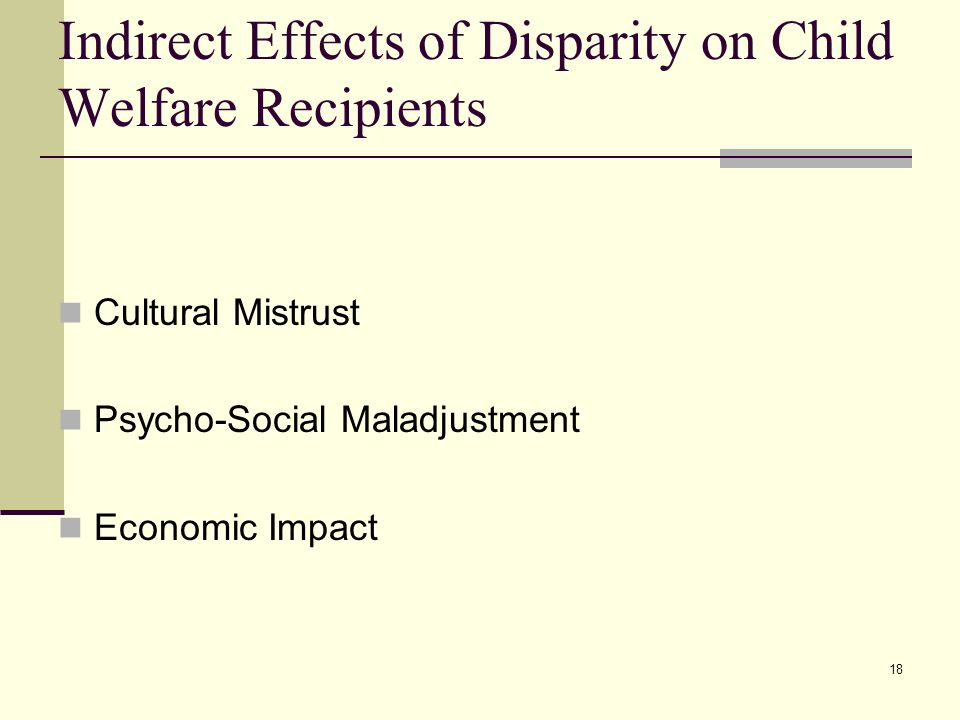 Indirect Effects of Disparity on Child Welfare Recipients