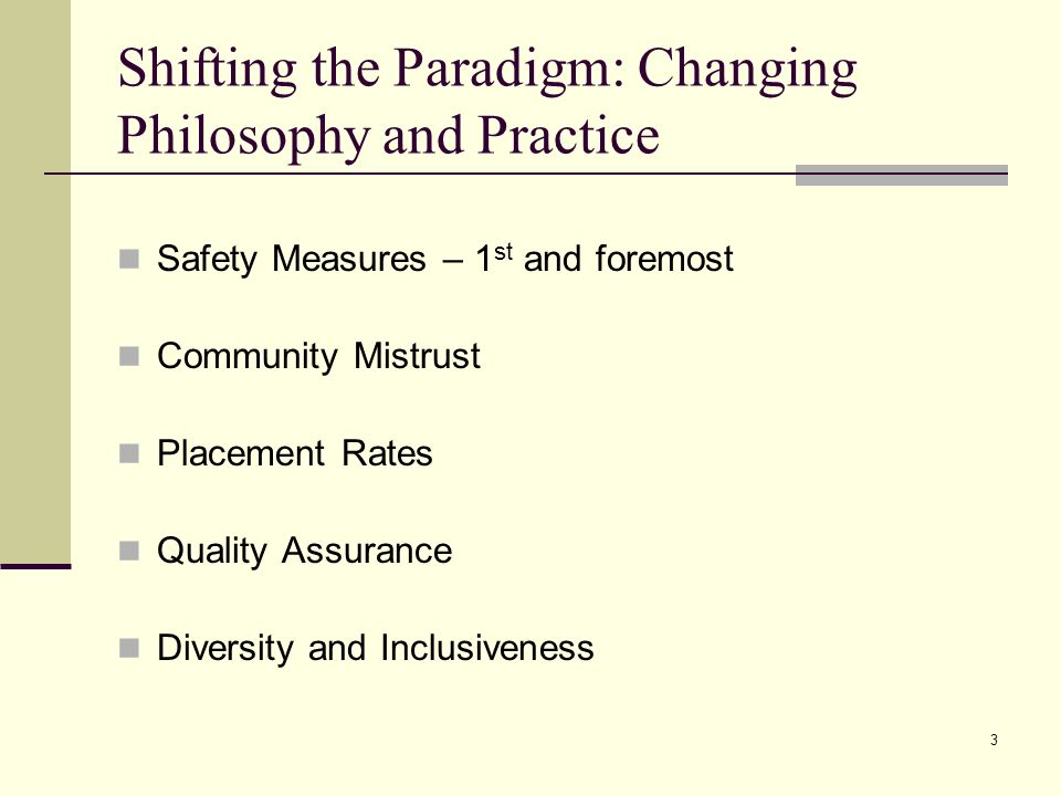 Shifting the Paradigm: Changing Philosophy and Practice