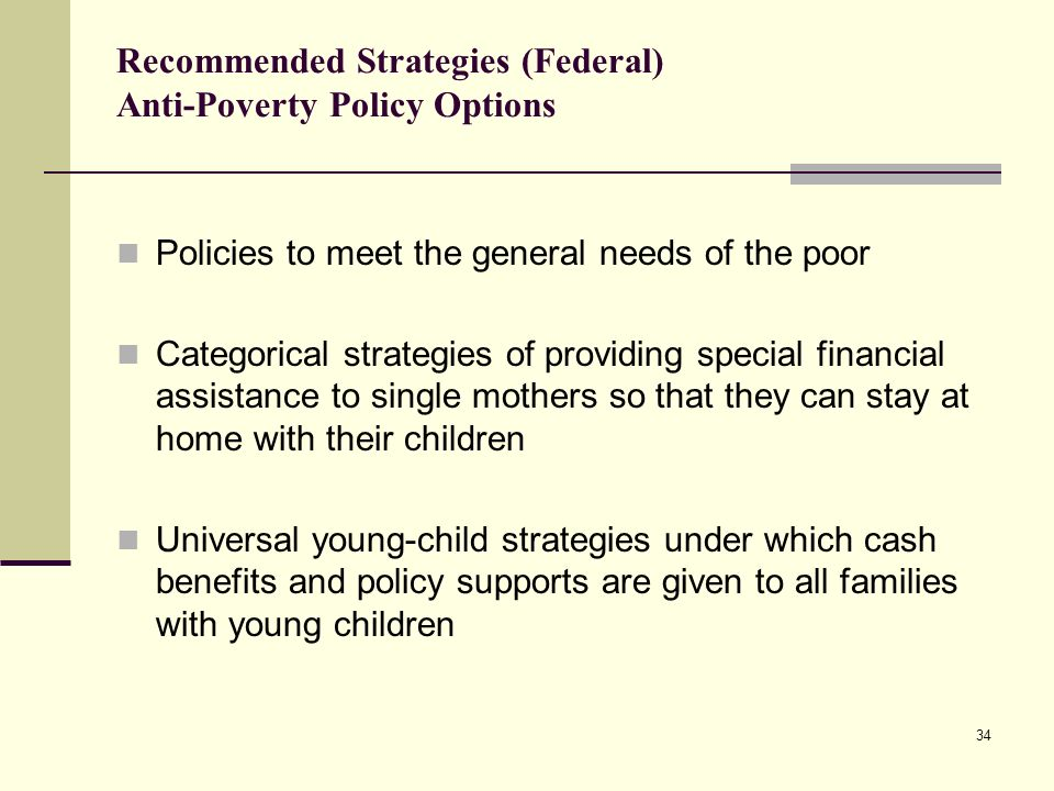 Recommended Strategies (Federal) Anti-Poverty Policy Options