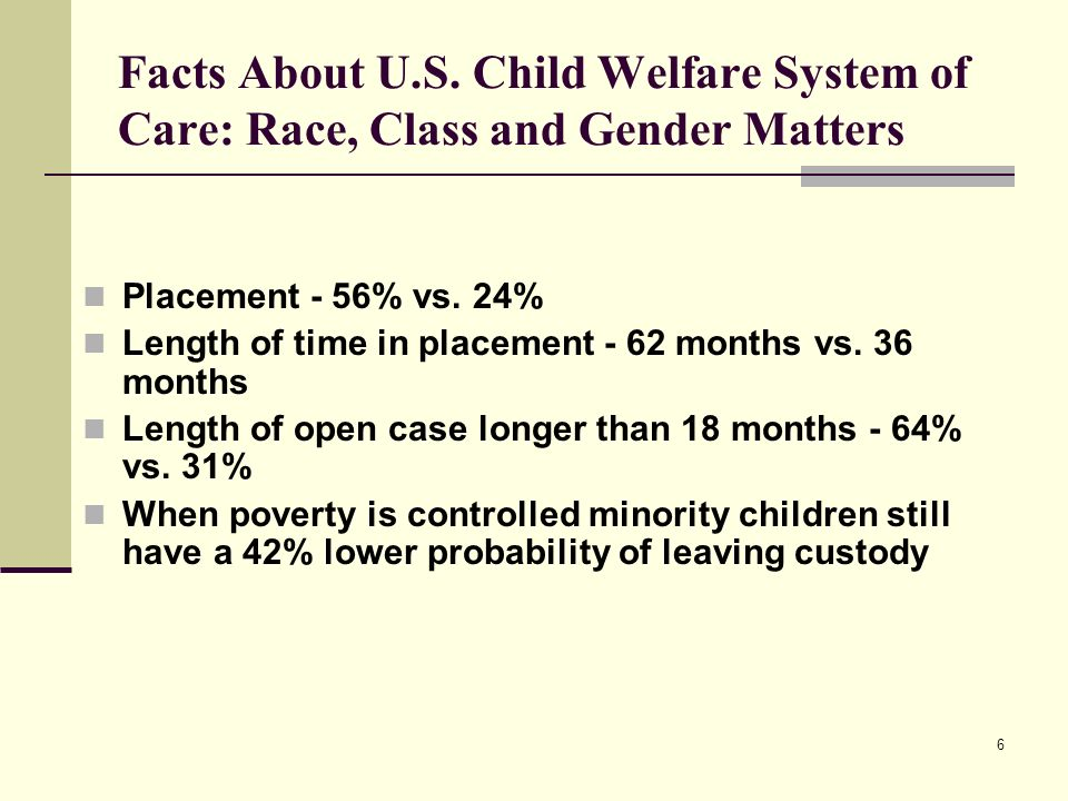 Facts About U.S. Child Welfare System of Care: Race, Class and Gender Matters