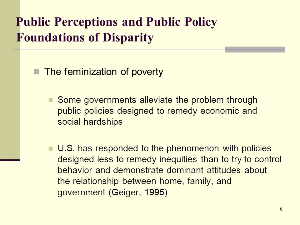Public Perceptions and Public Policy Foundations of Disparity