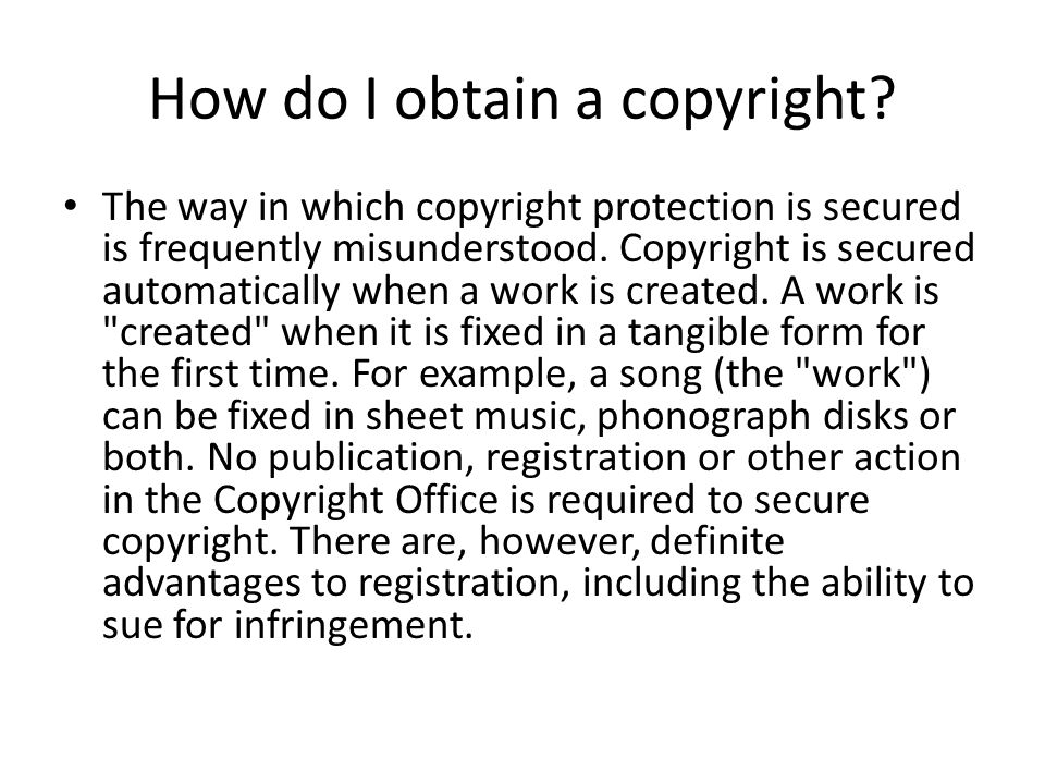 How do I obtain a copyright