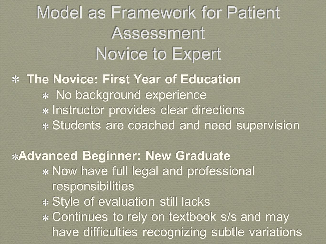 "?patricia benners theory: from novice to expert essay From novice to expert dr patricia benner 3 introduced the concept that expert nurses develop skills without ever learning the theory (""knowing that."