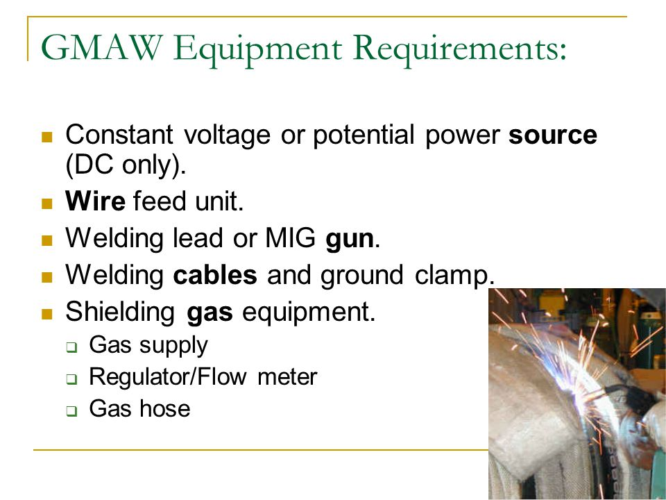 GMAW Equipment Requirements:
