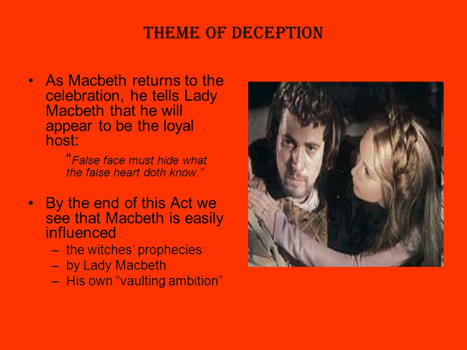 essay on the theme of deception in macbeth Struggling with themes such as ambition in william shakespeare's macbeth we've got the quick and easy lowdown on it here.