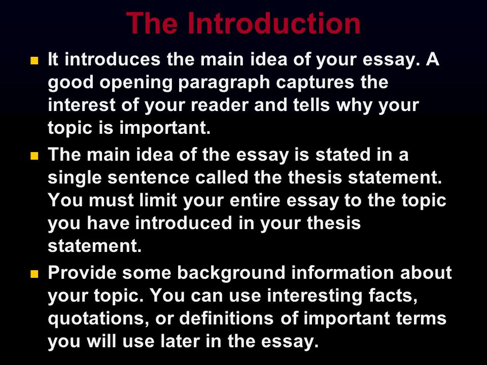 a good introduction for an essay